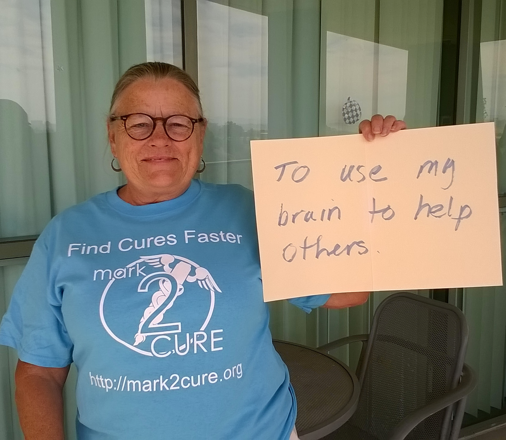 Pam, one of our awesome Mark2Curators, provides care for her father who suffers from Alzheimer Disease.  Like her shirt? Enter our photo contest to win one.