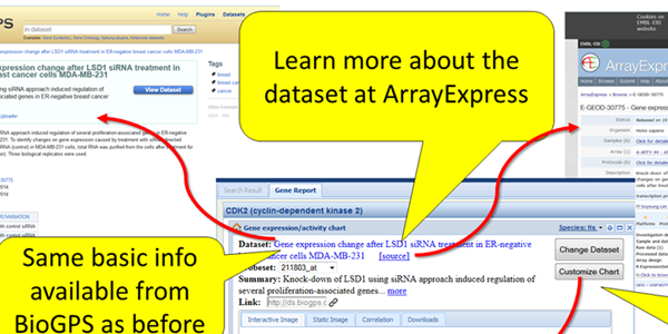 Not only is the same basic info on the dataset available in BioGPS, but you can get more details from ArrayExpress