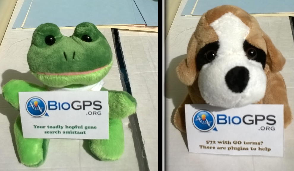 hoppy helper mascot (left) and fasta fetcher mascot (right)