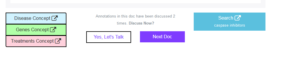 The talk page button is right next to the 'Next Doc' button on the feedback screen.
